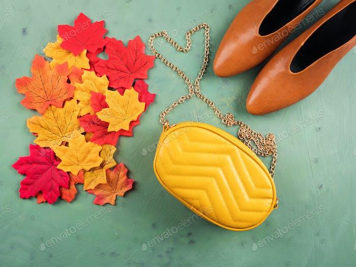 Female trendy fall color shoes, leaves, handbag