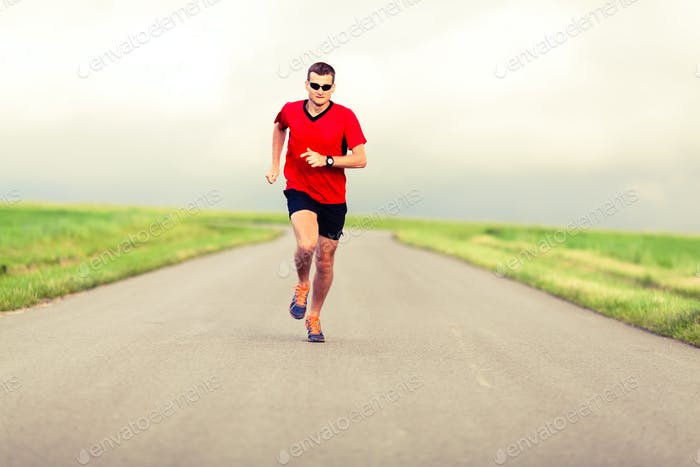 Man running and exercising healthy lifestyle