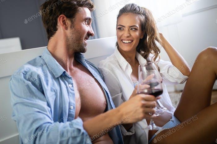 Passion portrait of attractive sensual couple in love