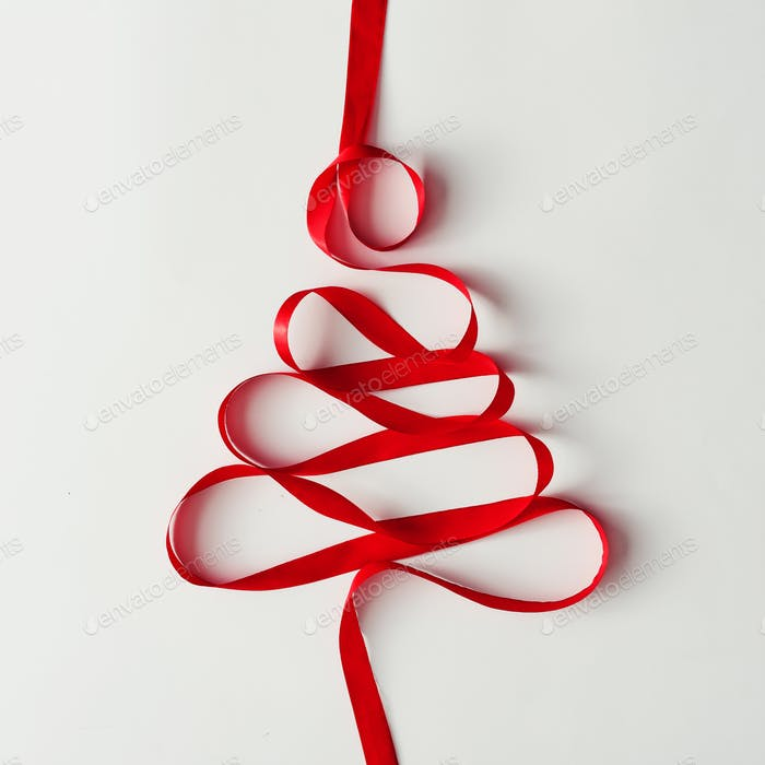 Christmas tree made of red satin ribbon.