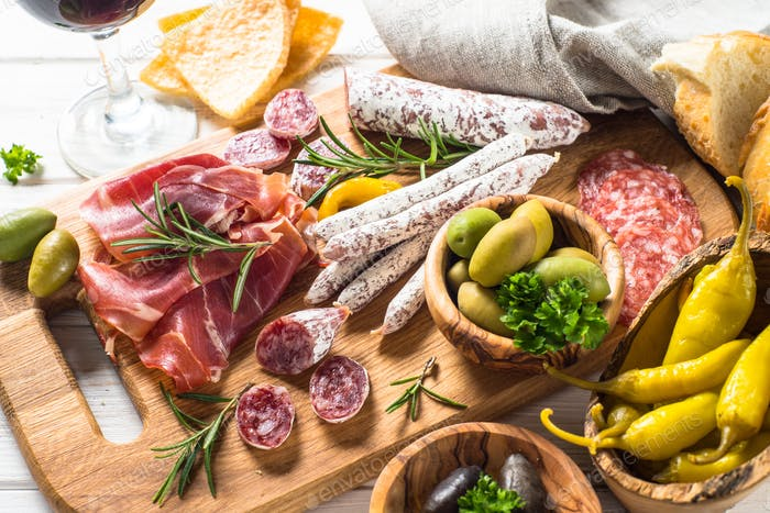 Antipasto - sliced meat, jamon, salami, olives