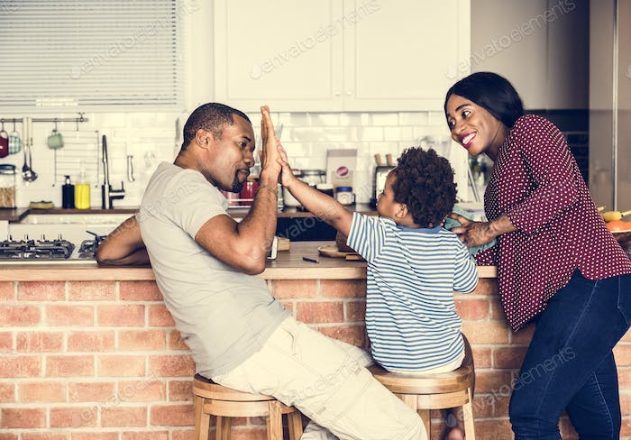 Black family spending time together