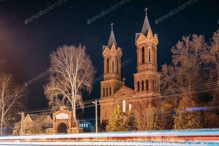 Vitebsk, Belarus. Night View Of Old Cathedral Of St. Barbara On