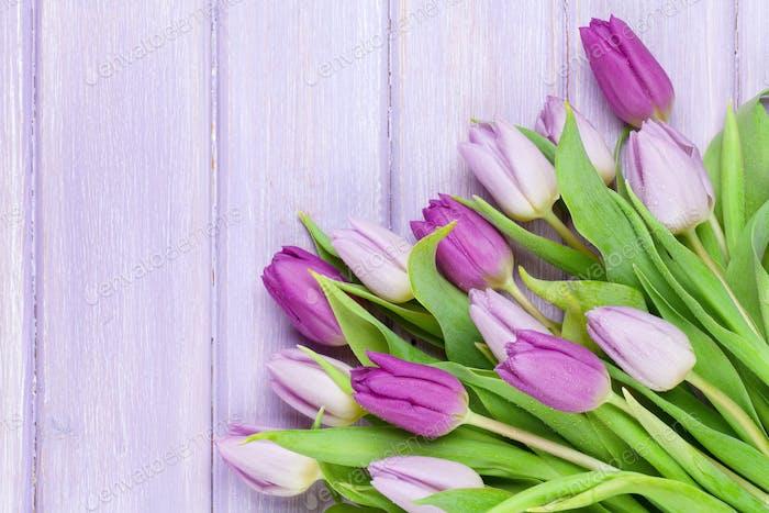 Purple tulips on wooden table