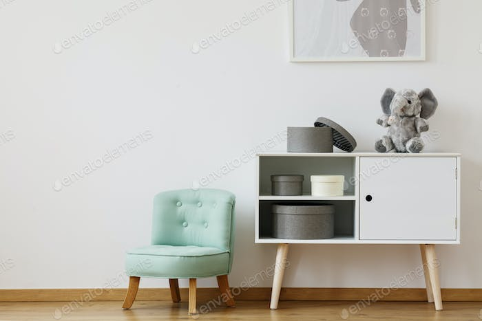 Cupboard and mint chair