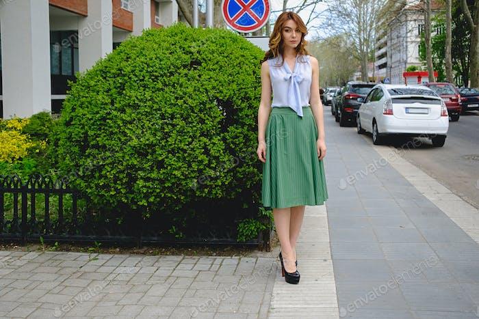 Romantic girl in retro clothes