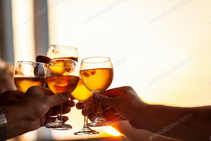 Friends toasting with wine at the party