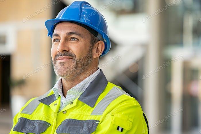 Mature architect at construction site