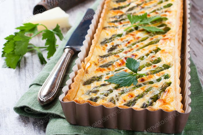 Savory tart with pecorino and bacon