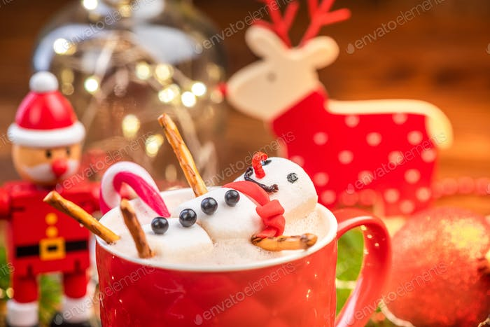 Hot Chocolate in Red Festive Mug with Melted Funny Marshmallow S