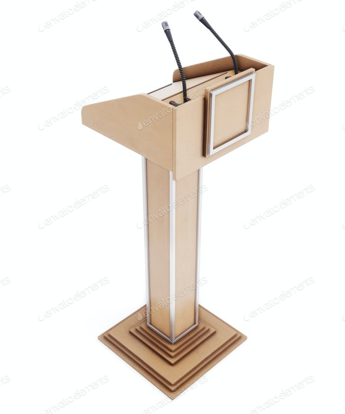 Wooden tribune for speaking, reading lectures. Rostrum for the performance. 3d rendering