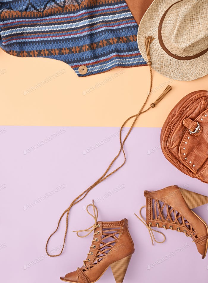 Cowboy style. Summer Fashion girl clothes set.