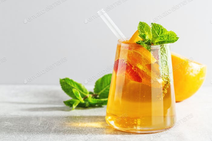 Fresh drink with orange and mint