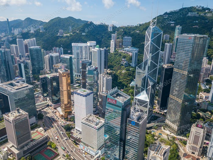 Drone fly over Hong Kong city