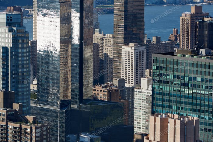 New York City Manhattan skyline aerial view with glass and modern buildings