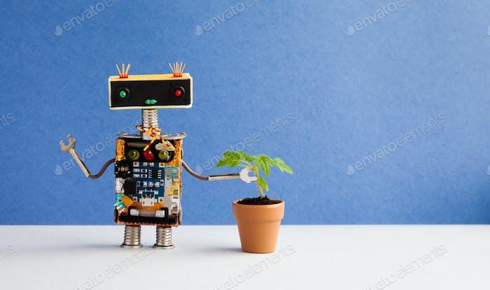 Robot and plant flowerpot