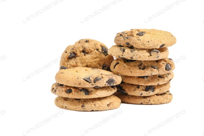 Tasty chocolate chip cookies on white background