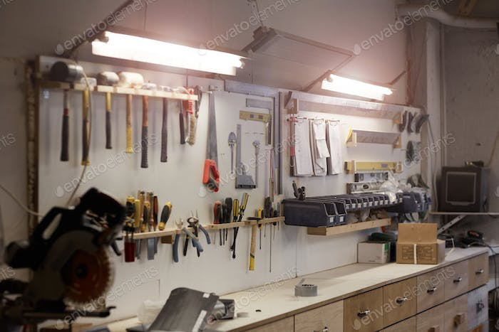 Workshop with work tools