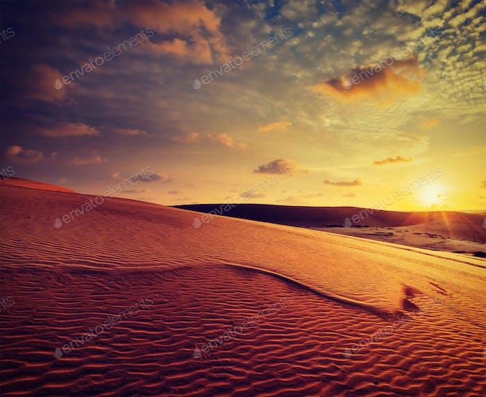 White sand dunes on sunset, Mui Ne, Vietnam