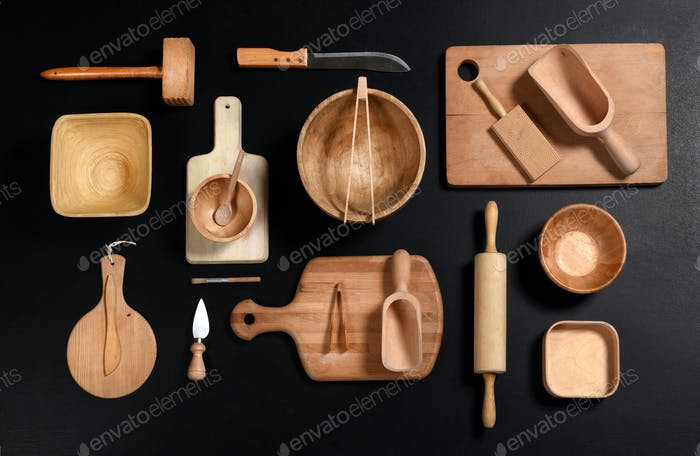 Collection of wooden kitchenware and tools
