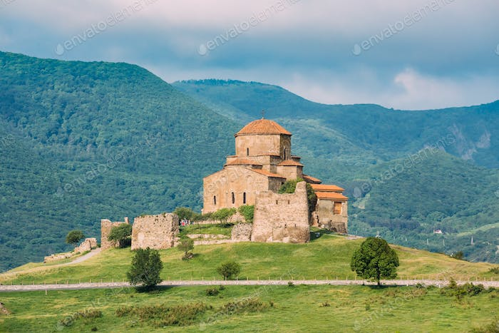 Mtskheta Georgia. Scenic View Of Jvari, Georgian Orthodox Monast