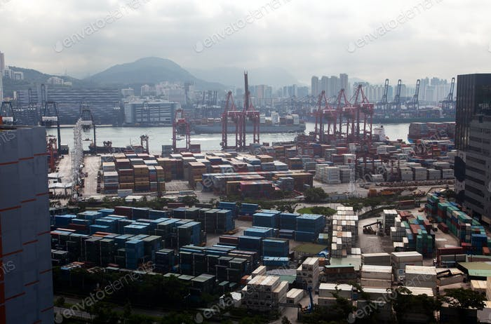 Container port Hong Kong in modern harbour