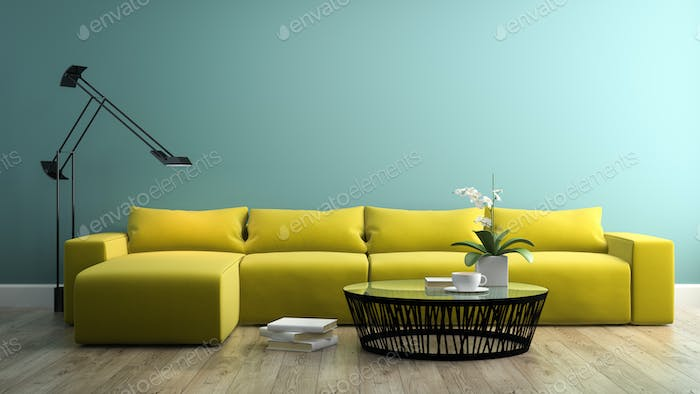 Part of interior with  modern yellow sofa 3d rendering 3