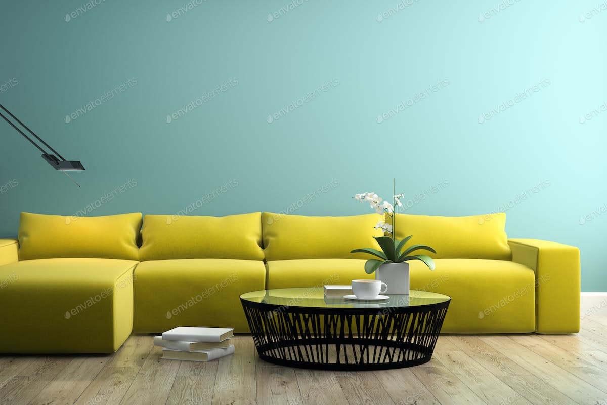 Part of interior with modern yellow sofa 3d rendering 3 photo by hemul75 on  Envato Elements