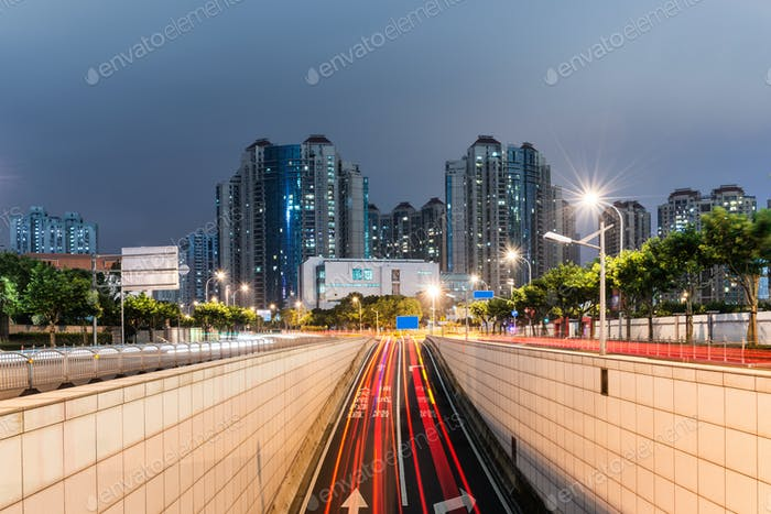 light trails on shanghai