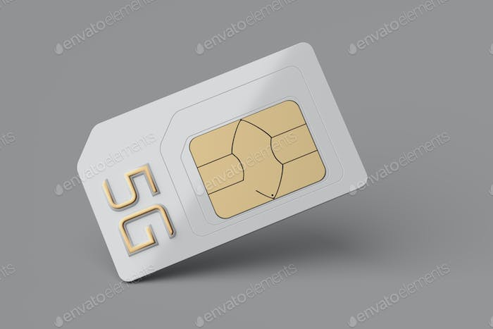 Mini SIM card with precut micro and nano sizes and 5G letters.