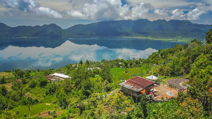 Indonesian home above volcanic Lake Maninjao