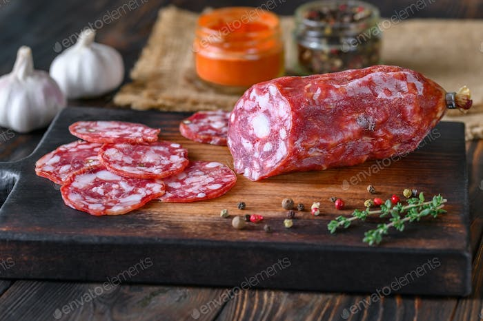 Italian salami with fresh thyme