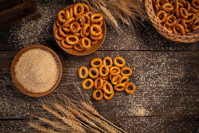 Salty hard round pretzels