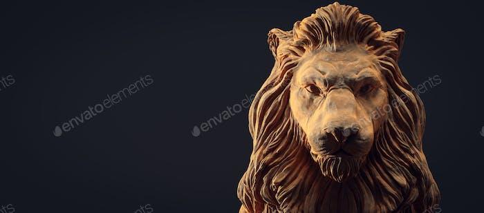 A clay lion sculpture portrait.