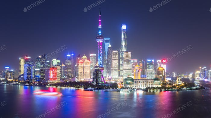 beautiful shanghai skyline at night