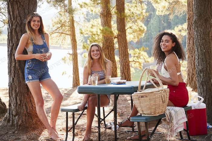 Three female friends hanging out by a lake smiling to camera