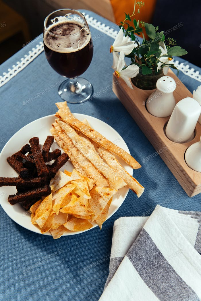 chips and crackers to beer. Advertising shooting menu