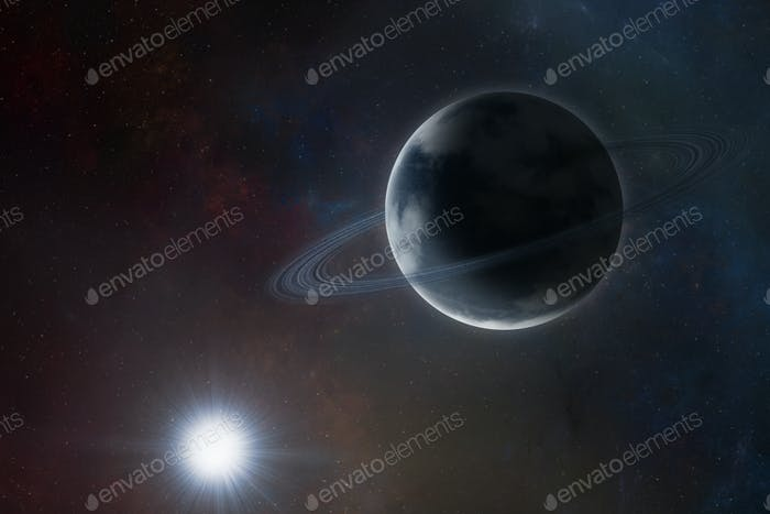 Blue planet with rings on space background