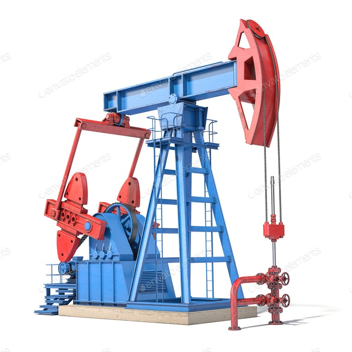 Oil pump jack isolated on white background.