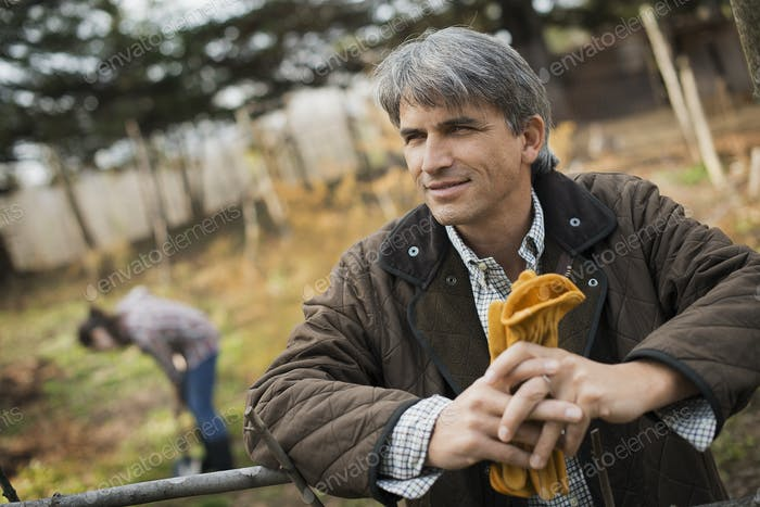A man holding leather work gloves on an organic farm. A person digging the ground.