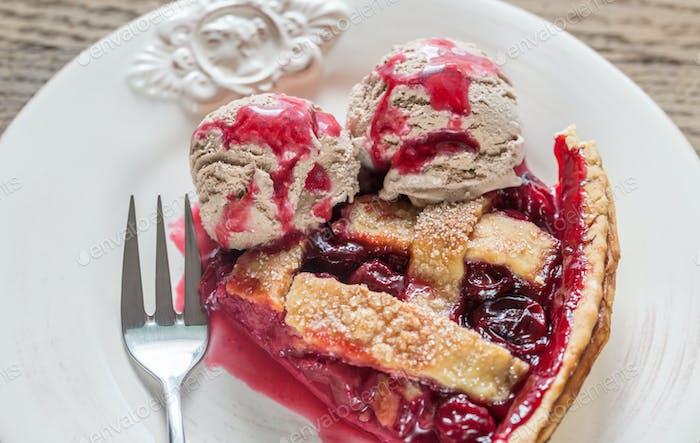 Slice of cherry pie with balls of chocolate ice cream
