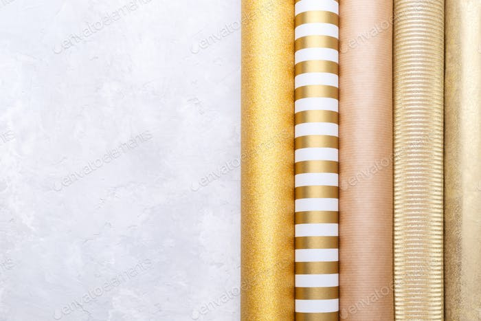Gold wrapping paper.
