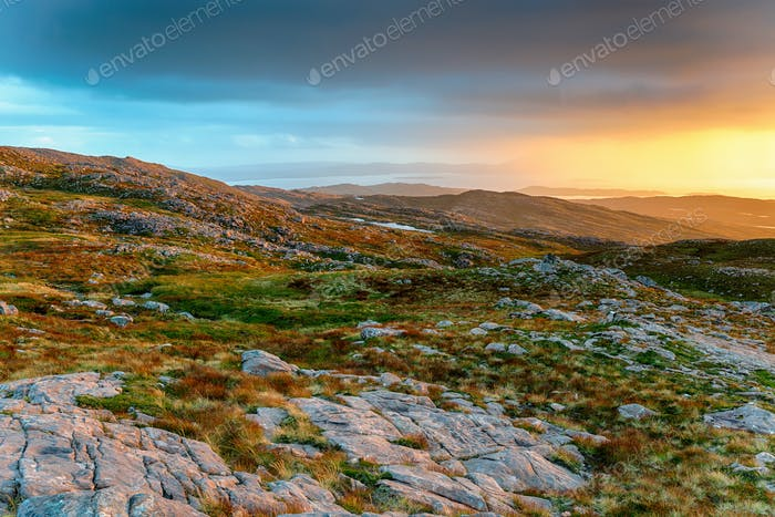Glorious sunset from the top of the Bealach na Ba