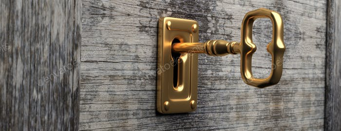 Goldschlüssel und Schlüsselloch, Holztür Hintergrund, Banner. 3D Illustration