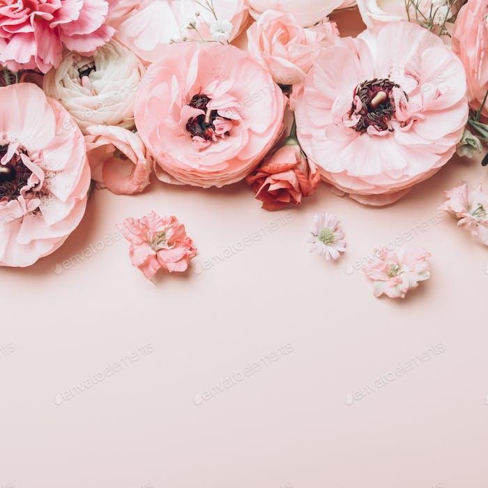 Floral arrangments of tender ranunculus flowers