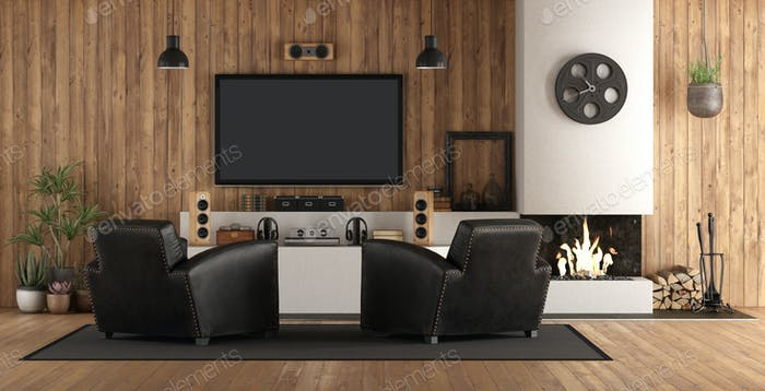 Home cinema in rustic stryle