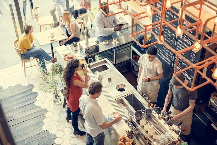 Cafetería Bar Contador Cafe Restaurante Concepto Relajación