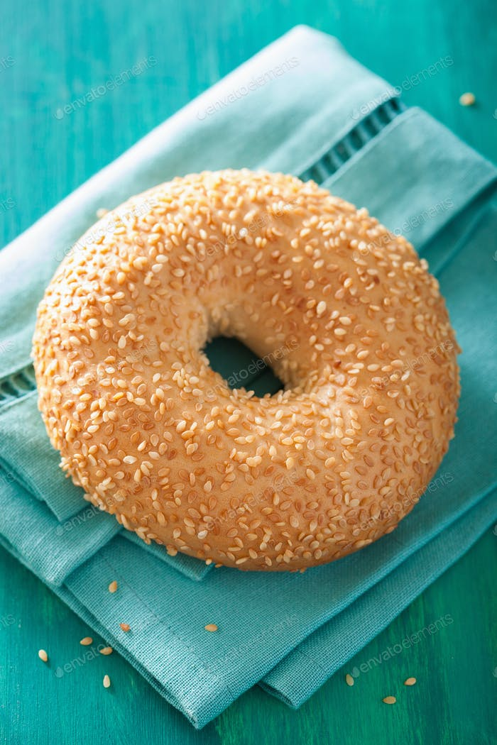 fresh sesame bagel for breakfast