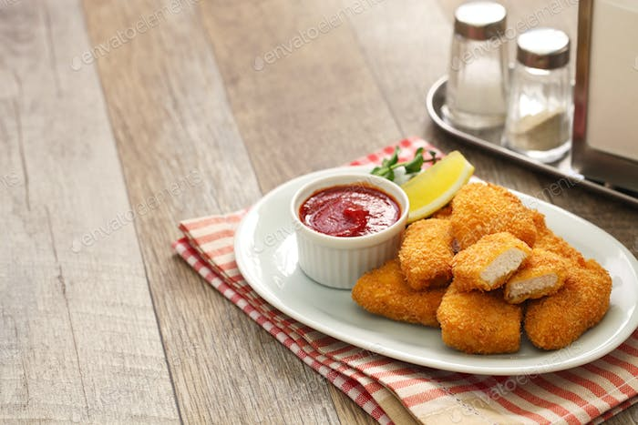 homemade chicken nuggets with ketchup