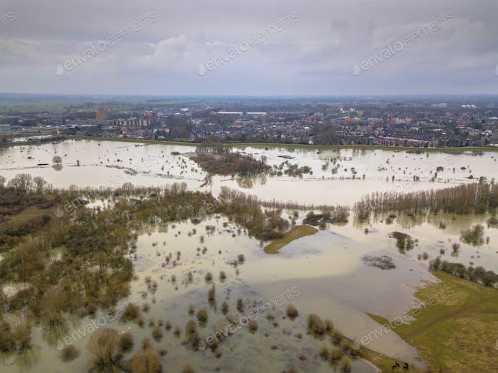 Überschwemmte Auen in der Nähe der Stadt Wageningen